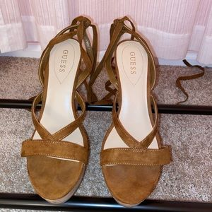 Guess lace up leg wedges